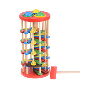 Pound-And-Roll-Wooden-Tower-With-Hammer-Knock-The-Ball-Roll-Off-Ladder-Toy-JR