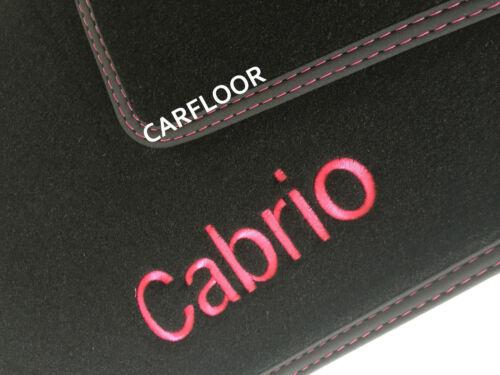 BMW 2er F23 Cabrio Fußmatten Velours schwarz Deluxe mit Cabrio gestickt pink