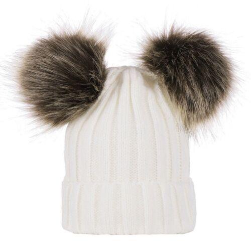 Newborn Kids Baby Boy Girl Pom Hat Winter Warm Crochet Knit Bobble Beanie Cap #x