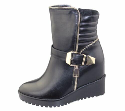 Talon compensé pour femme hiver bottes top haute femme cheville armée biker Nouveau Sneaker