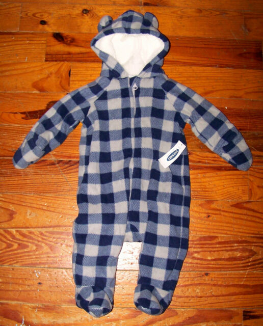 6dead79e00b1 Boys Old Navy Blue   Gray Fleece Plaid Hooded Snowsuit Coat 3-6 ...