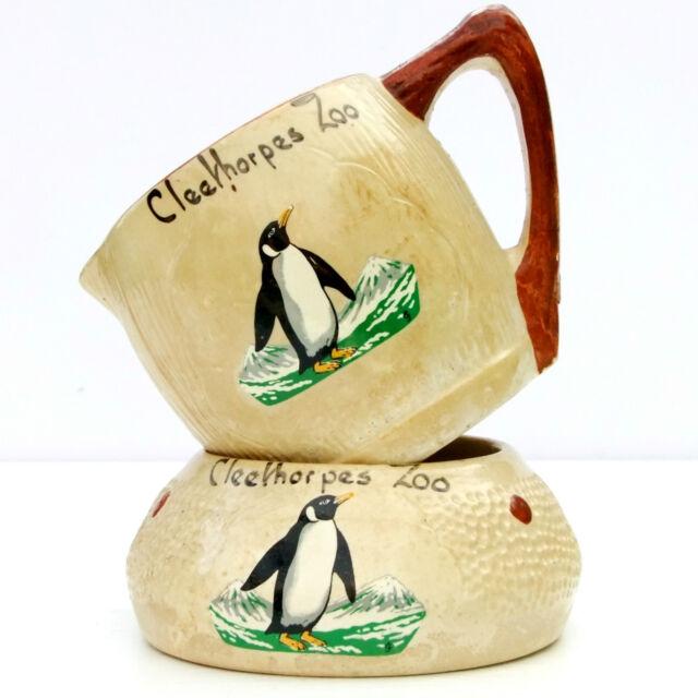 Vintage 1960s Cleethorpes Zoo Souvenir Pottery Milk Jug Sugar Bowl Penguin