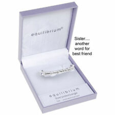 Equilibrium Silver Plated SISTER Best Friend  Bangle Bracelet Gift Box 7031