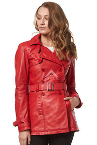 dfbb5666cc076 Chic Style Ladies Red Classic Trench Mid Length Designer Leather ...