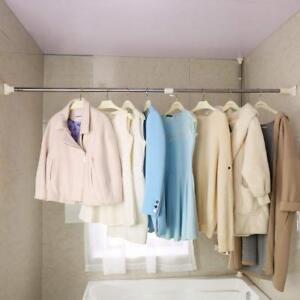 Shower Curtain Rod Rail Closet Clothing Hanger Rack Bar ...