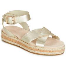 BNIB Clarks Ladies Cammy Blossom Pewter Leather Wedged Sandals
