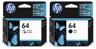 HP 64 Black /& 64 Tri-Color ink for 6252,6255,7155,7855,7855,7858 EXP 2020