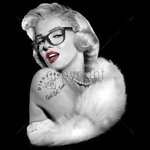 Sexy nerdy glasses marilyn monroe gangster tattoo american for Marilyn monroe tattoo canvas