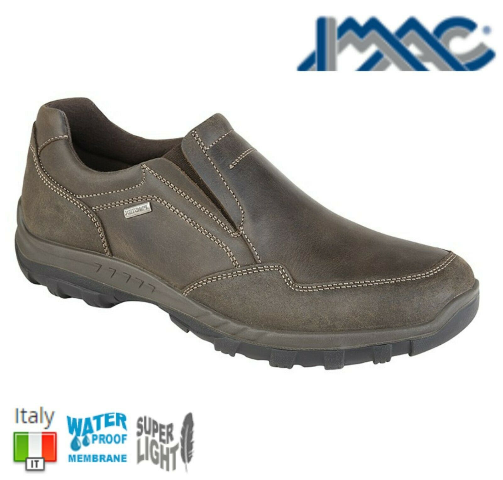 IMAC MENS WATERPROOF - Brown Leather Casual Slip On shoes - Sizes 7 8 9 10 11 12