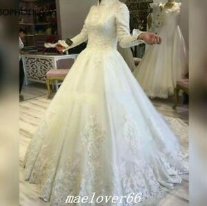 Details about High Neck Long Sleeve Muslim Wedding Dresses Applique Bridal  Gowns Plus Size
