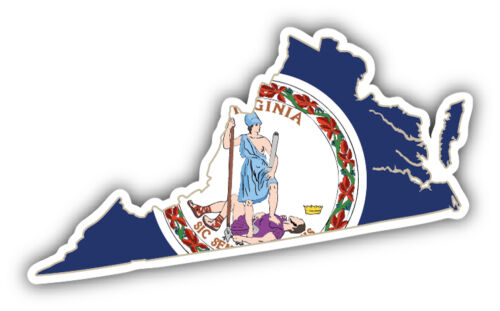 Virginia USA State Map Flag Car Bumper Sticker Decal 5/'/' x 3/'/'