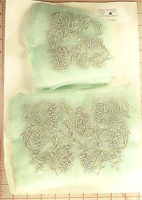 """20 sets lt green panels matte silver elegant embroidered foliage design 9"""" & 5"""""""