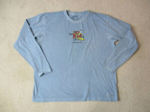 Life-Is-Good-Long-Sleeve-Shirt-Adult-Extra-Large-Blue-Yellow-Game-On-Football