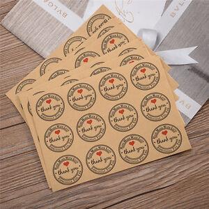 120pcs Baking Bags Sealing Paste THANK YOU Kraft Label Stickers Gift Bags Decor