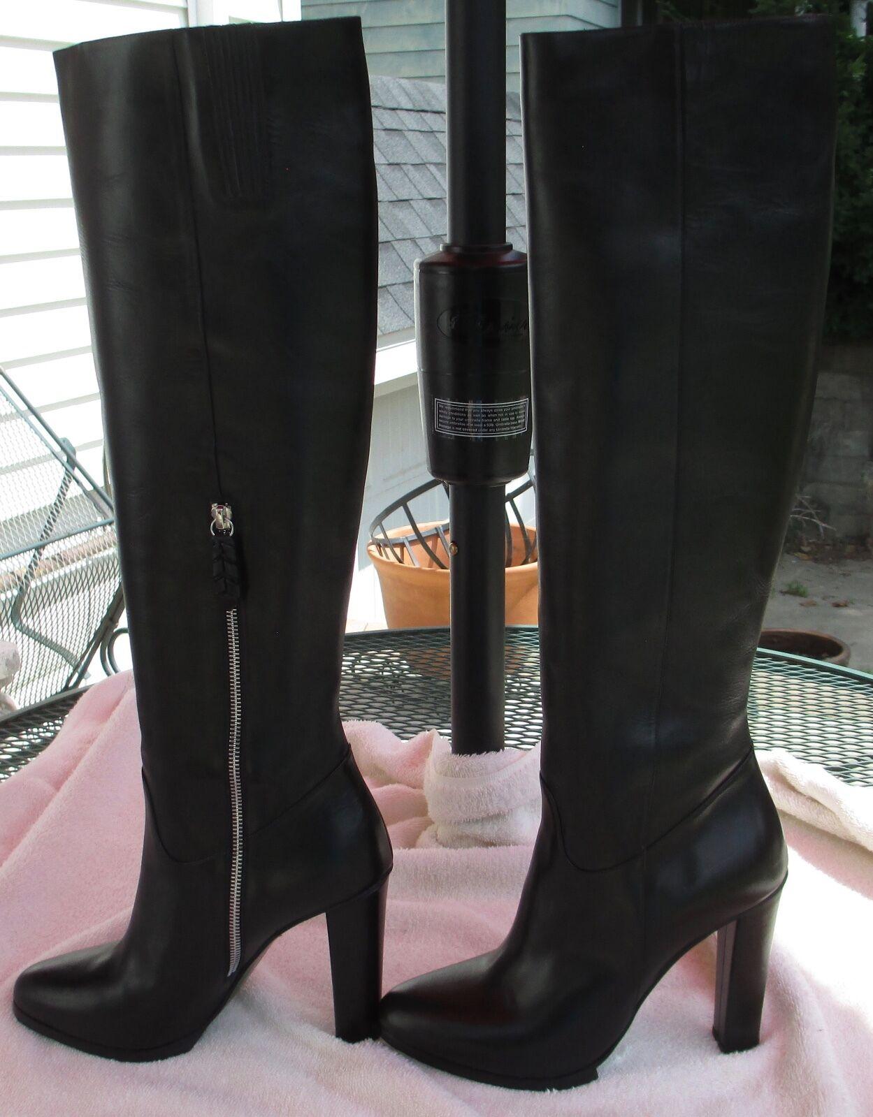 DONALD J PLINER Signature 'Tata' Black Leather Tall Boots Fits 9 - BRAND NEW!