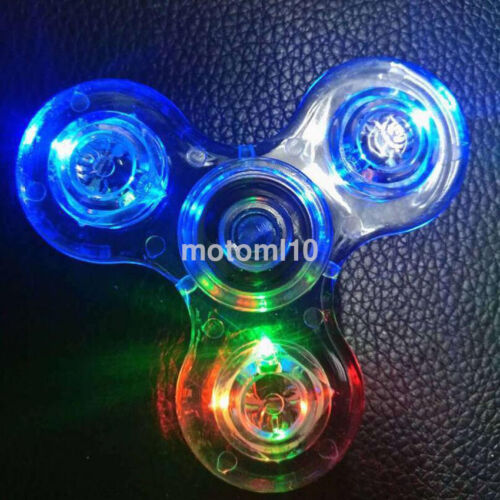 Clear Transparent LED Light Up EDC Tri Fidget Hand Spinner Relieve Stress Toy CA