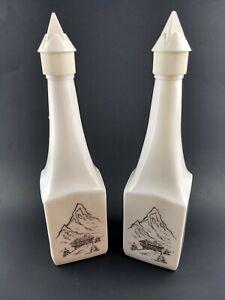 White Milk Glass Liquor Bottle Decanter Alpine Mountain