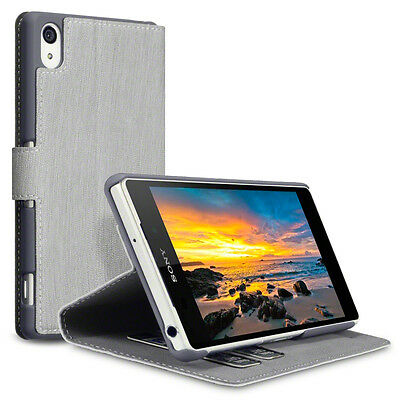 Grey PU Leather Wallet Case Stand Card Holders for New Sony Xperia Z2