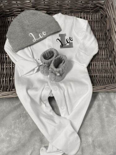 0-1M 0-3m-6m 6-9m Send Name Size In Message Sleepsuit Hat Booties Set 1stSize