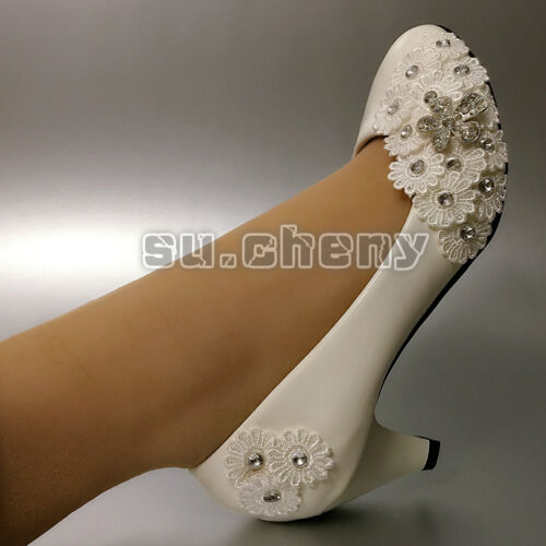 """su.cheny 2/"""" 3/"""" White crystal Wedding shoes lace flowers heels Bridal shoes pumps"""