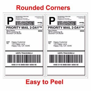 1000 Shipping Labels 8.5x5.5 Rounded Corner Self Adhesive 2 Per Sheet