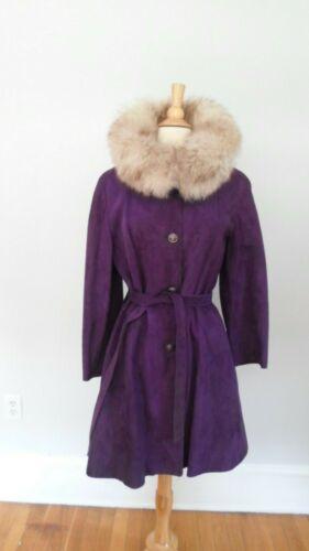 1960's 1970's Mod VINTAGE Purple Suede Jacket Coat