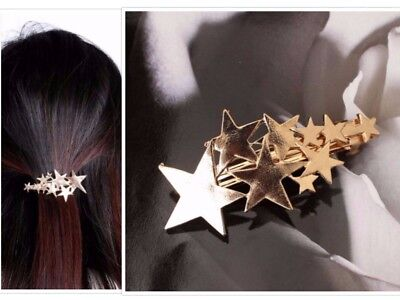 Silver Stars Hair Clip Barrette Clasp Head Bobby Pin Grip Small VTG Prom Wedding