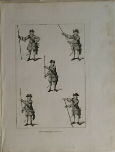 1786-ANTIQUE-MILITARY-ARMY-PRINT-THE-STANDING-SALUTE-SOLDIERS
