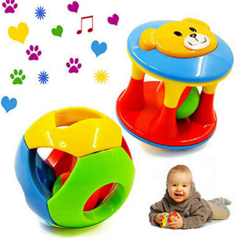 2pcs Baby Newborn Little Loud Jingle Rattle Rolling Ball Ring Bell Grasp Toy SL