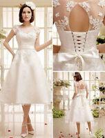 Custom Lace Wedding Dresses Tea Length Short Sleeve Lace Up Back Bridal Gowns