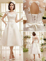 Custom Lace Wedding Dresses Tea Length Short Sleeve Lace Up Back Bridal Gowns