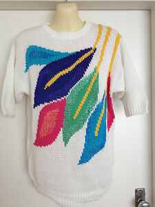 Original-Vintage-80s-Meredith-Knitted-Retro-3-4-Sleeved-Round-Neck-Jumper-Small