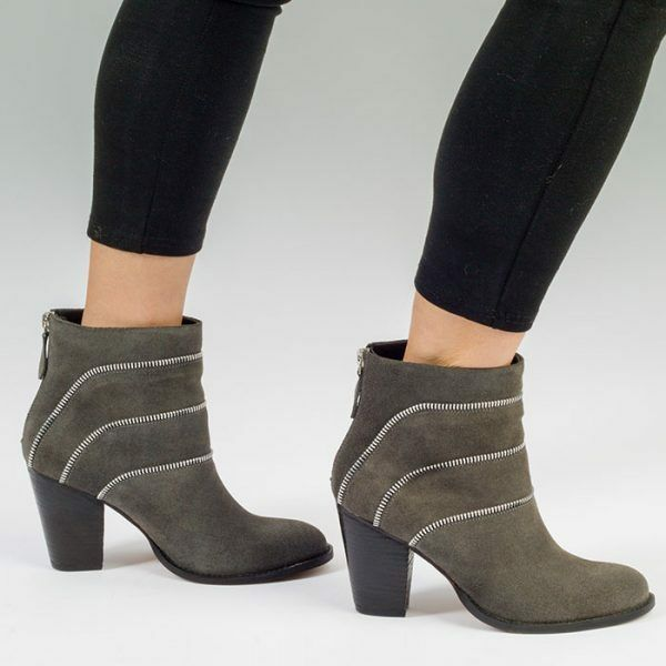 Womens Ladies Zip Detail Grey Leather Heeled Ankle Boot, UK Size 3 4 5 6 7 8
