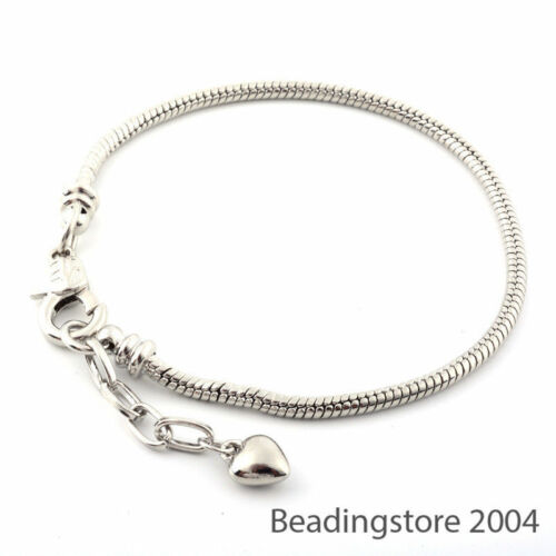 """12 Strds 7.87/"""" European Style Bracelet Bases Snake Chain Lobster Clasp Craft 3mm"""