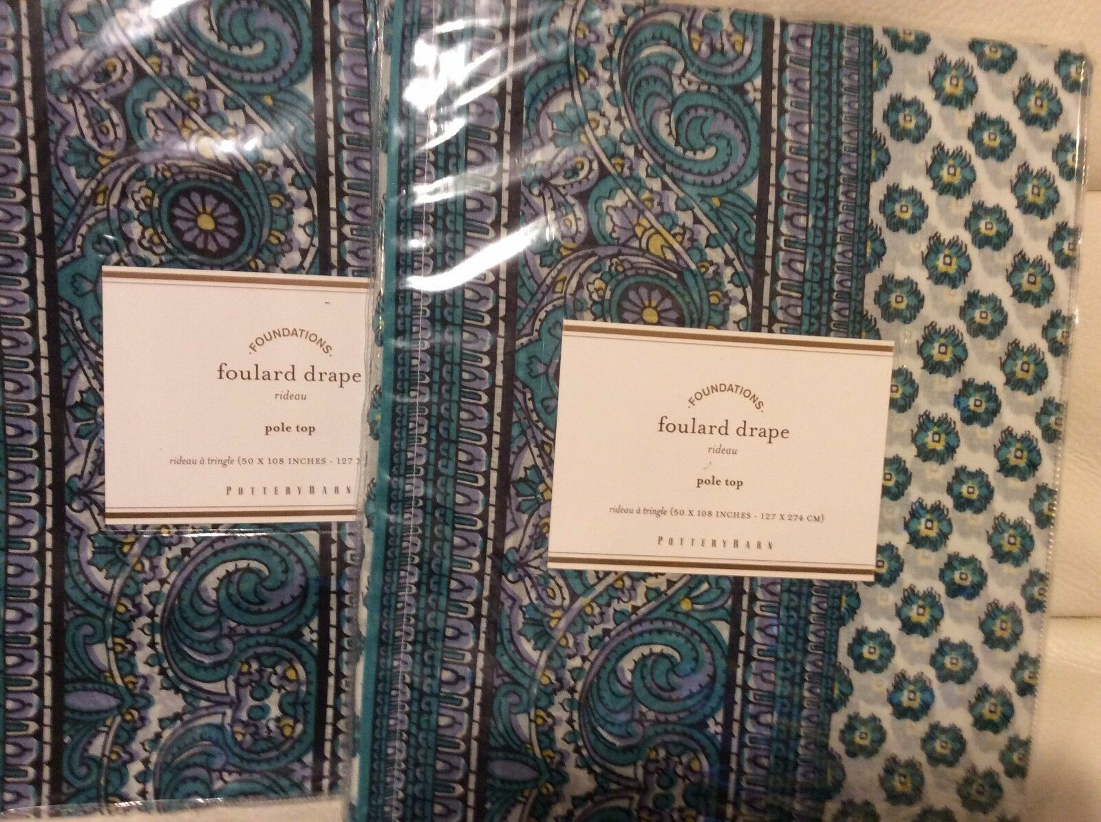 Pottery Barn Two (2)  Foulard Scarf Scarf Scarf Print Drapes 50X108L Cool Blau NWT 01d0b1