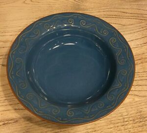 Pier-1-Tunisia-Pasta-Serving-BOWL-Dinnerware-Blue-12-034-Stoneware-LT-Blue