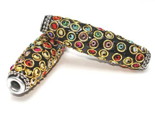 Noir//Coloré tube #h6 tressée tonperle Kashmiri perle xxl