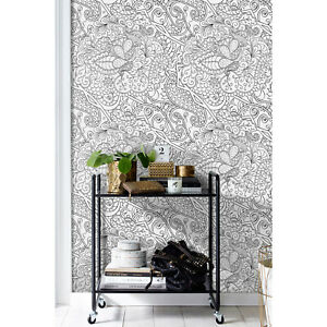 Sketch-drawing-wallpaper-Abstract-pattern-Removable-reusable-peel-and-stick
