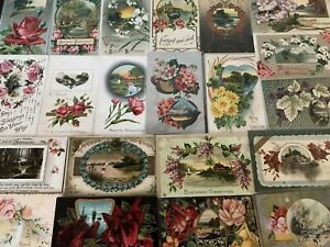 Lot-of-25-Floral-Pretty-Flowers-amp-Scenes-Antique-Greetings-Postcards-a-4