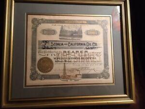 Sedalia-amp-California-Oil-Co-1902-stock-certificate-5-shares-matted-amp-framed