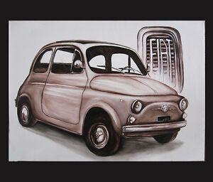 quadro fiat 500 olio su tela prodotto italiano malarei peinture olio painting ebay. Black Bedroom Furniture Sets. Home Design Ideas