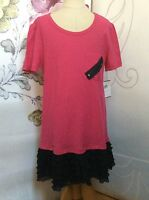 Nordstrom Kyut Pink Black Girls Tunic Top Shirt L Ruffles $ Price Tag $ Gift