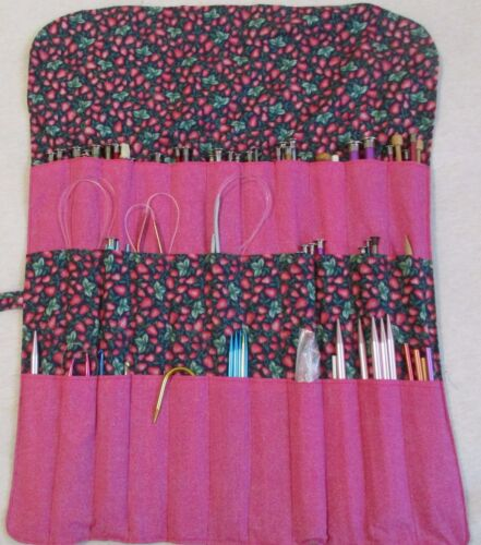 Knitting Needle / Crochet Hook roll up Organizer Handmade
