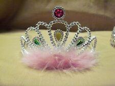 12 Princess Tiaras Fuzzy Pink Feathers Party Favor Bride Wedding