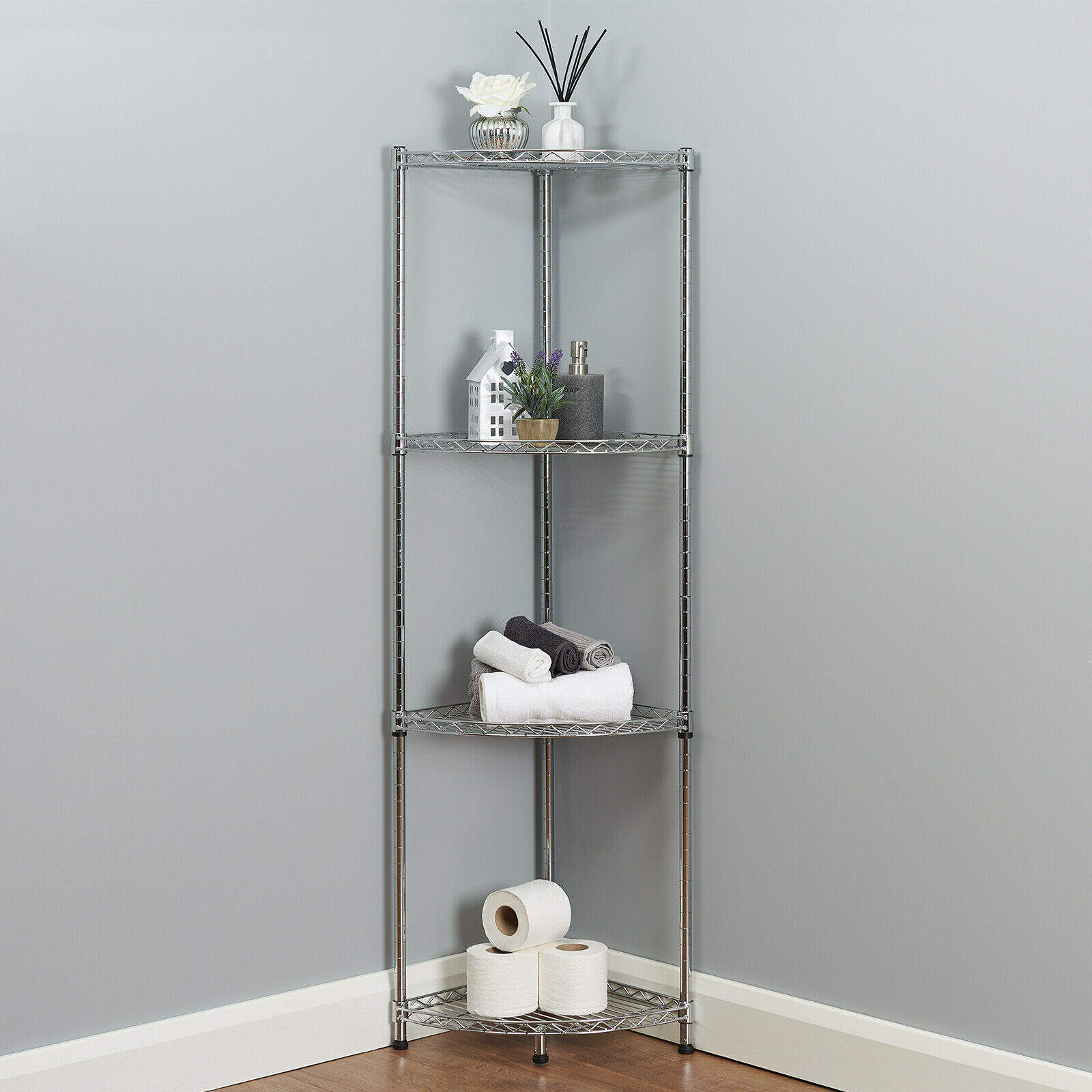 4 Tier Corner Bathroom Storage Shelves