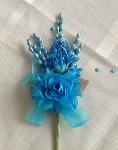 Turquoise Four Roses Wedding Quinceanera Corsage Faux Pearls Flower Spray Favor