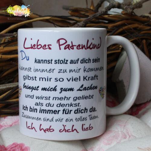 Geschenk Onkel Tante Patentante Taufe Weihnachten Tasse Liebes Patenkind
