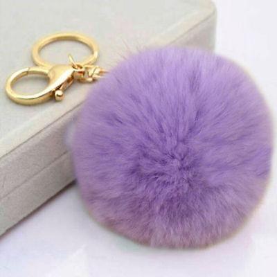 Cell Phone Car Keychain Pendant Handbag Key Ring Rabbit Fur Ball PomPom