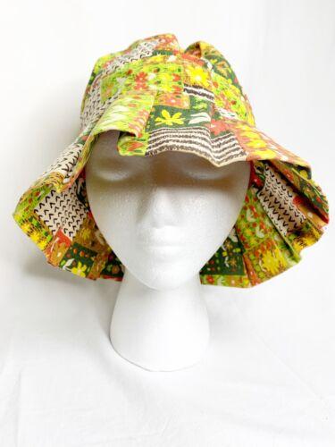 Vintage 1970s Print Hippy Boho Floppy Sun Hat