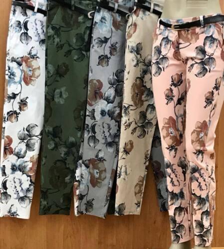 ITALY Damen Hose,Stretch,Boyfriend,Blumen Print,Gürtel,Gr.S,M,L,XL,Neu